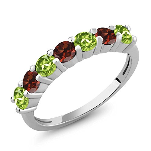 Garnet Vintage Bands (1.32 Ct Round Green Peridot Red Garnet 925 Sterling Silver Anniversary Ring)