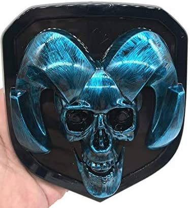 Blue STA RAM Front Grille Emblem with light for 08-18 RAM 1500 2500 3500 Skull External Decoration replace 3D Stain Style