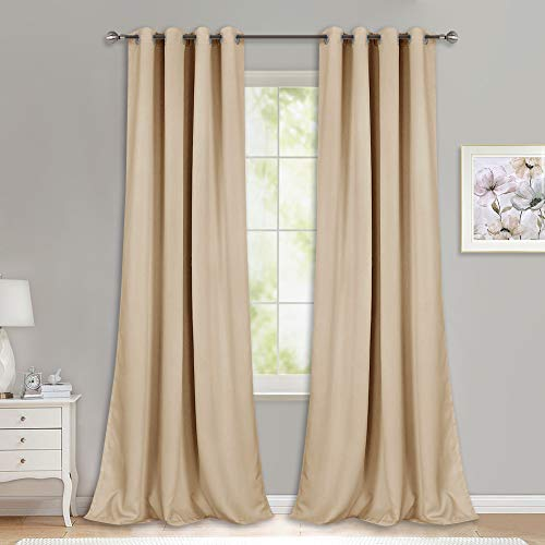 NICETOWN Room Darkening Grommet Panels - (52 inches Width, Biscotti Beige, 1 Pair) Extra Long Curtains 120 inches Long, Privacy Draperies for Large Window (Panels 120 Window)