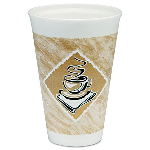 (DART 16X16GPK Cafe G Hot/Cold Cups Foam 16 oz White/Brown with Green Accents 25/Pack)
