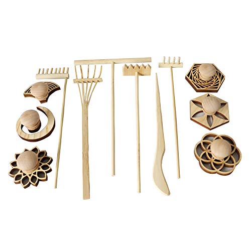 Mini Zen Garden Rake and Sand Stamp Set of 12 for Office Tabletop Rock Zen Garden Kits Meditation Zen Garden Tools Desk Japanese Sand Garden Accessories - Set Rake