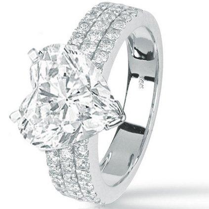 1.59 Carat Heart Cut / Shape 14K White Gold Modern Triple Three Row Pave Set Round Cut Diamond Engagement Ring ( J Color , VS2 Clarity ) - Size 10