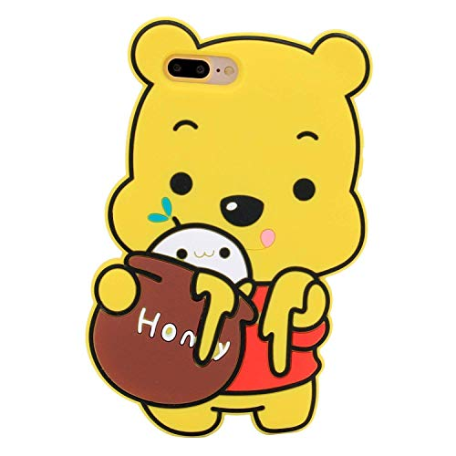 iPhone 6 Plus Case iPhone 6S Plus Winnie Silicone Case Bat King Fashion Cartoon Winnie The Pooh 3D Cute Silicon Gel Rubber Back Cover Case Skin for Apple iPhone 6/6S -