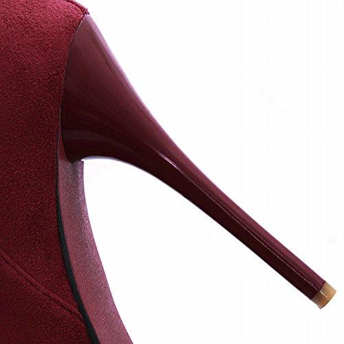 Fascino Piede Moda Donna Piattaforma Stiletto Tacco Alto Stivali Vino Rosso