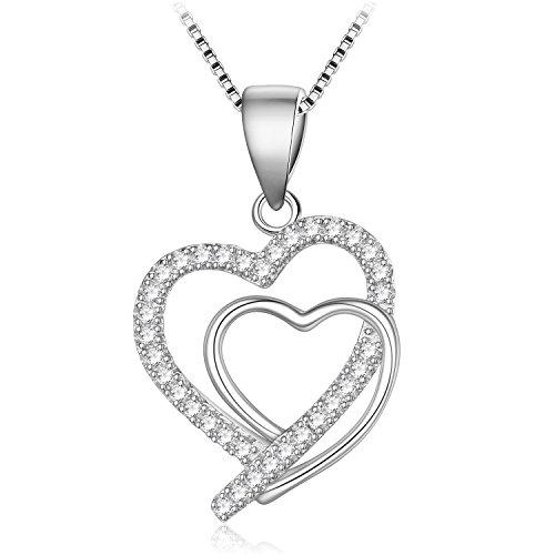 Sterling Silver Cubic Zirconia Heart Shape Pendant Necklace