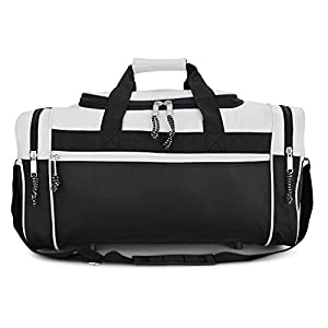 """DALIX 19"""" Sports Duffle Bag Gym Travel Pack Black Red Pink Purple Navy Gray Blue (White)"""
