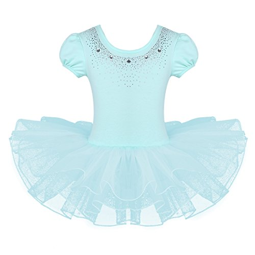 iEFiEL Kids Short Sleeve Sparkle Rhinestone Dance Costumes Tutu Ballet Dress for Little Girls 3-8 Years Mint Green -
