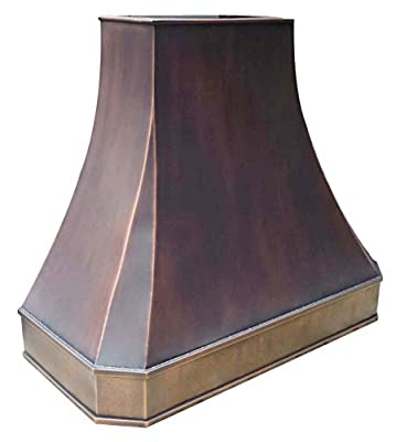"Sinda Copper Range Hood with High Airflow Centrifugal Blower, Includes SUS 304 Liner and Baffle Filter, High CFM Vent Motor, Wall/Island / Ceiling Mount, Width 30,36,42,48 in (W36""xH27""Island)"