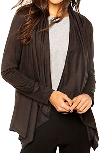(Pink Queen Ladies Fall Vintage Suede Coat Open Front Shawl Collar Cardigan Wraps Chestnut)