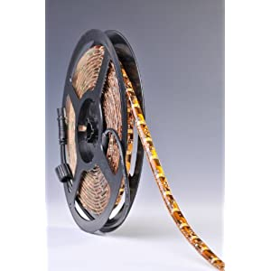 Weatherproof Warm White LED Light Strip, 3528 - 16.4 Feet, 300 LEDs, 3000K, 72 Lumens per Foot. 12V DC