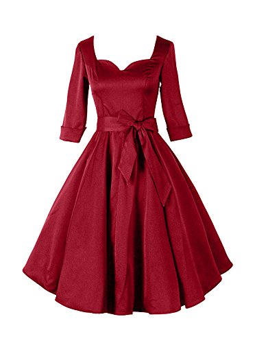 Luouse-1950s-12-Sleeve-Women-Vintage-Retro-Dresses-Swing-Dress