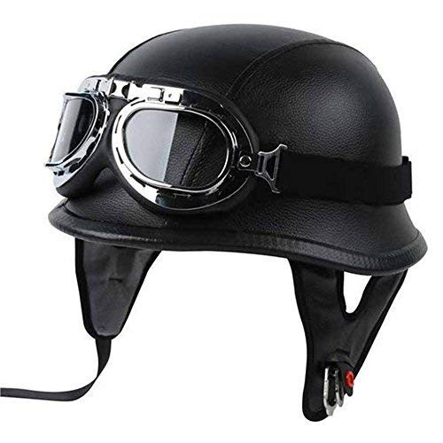 Half Helmet Black Dot Adult German Style added leather protection with goggles (L)