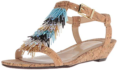 J.Renee Women's Aleesa Wedge Sandal (9.5 W US, Natural/Gold)