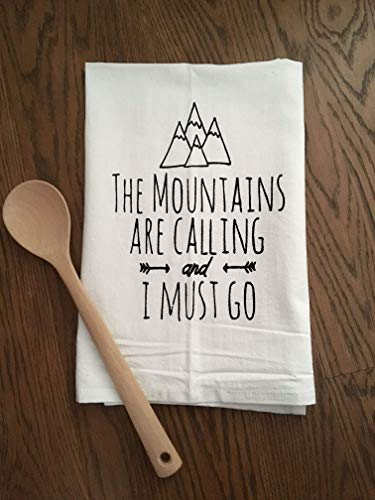 - Sweet Dishcloth/Tea Towel ~ The Mountains Are Calling And I Must Go ~ Funny Kitchen Cloth.