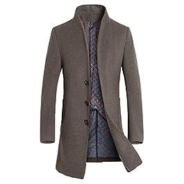 Mordenmiss Men's French Woolen Coat Business Down Jacket Trench Topcoat 1