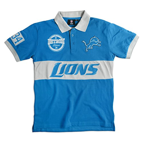 Detroit Lions Cotton/Poly Wordmark Rugby Short Sleeve Polo Shirt Large
