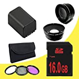 BP-819 Lithium Ion Replacement Battery + 16GB SDHC Class 10 Memory Card + 58mm 3 Piece Filter Kit + 58mm Wide Angle Lens + 58mm 2x Telephoto Lens for Canon Vixia HFG10 XA10 HFS10 HFS20 HFS21 HFS30 HFS100 HFS200 Digital Camcorder DavisMAX BP819 Accessory Bundle