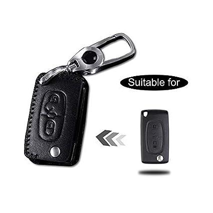 Funda Cuero para Llave Peugeot 2 Botones Llave Control Remoto Plegable línea Negro con Llaveros 1 PC Modelo D