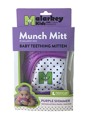 Munch Mitt® Teething Toy Stays on Baby's Hand is Self-Soothing Entertainment and Gives Pain Relief from Teething plus is Ideal Baby Shower Gift that includes Handy Travel/Laundry Bag– Set of 2 Purple by Munch Mitt (Image #1)