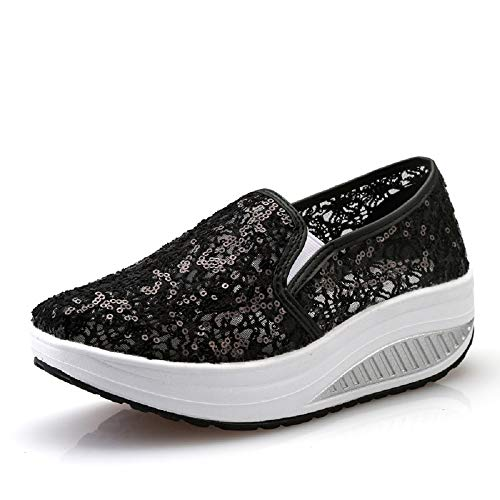 Nero EU donna in Scarpe scarpe lacci Dimensione Colore Nero ginnastica 40 ZHRUI con da glitter mesh da e OvfncWC