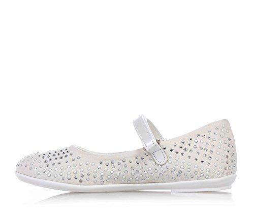 CARLO PIGNATELLI - Ballerine blanche en suède et cuir, qui exalte l'élégance, la vivacité et la douceur des plus petits, avec fermeture en velcro, Fille, Filles