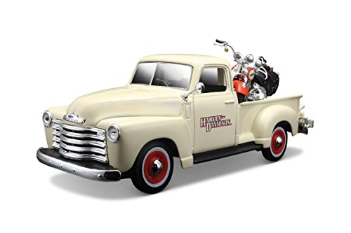 Maisto Harley-Davidson 2001 FLSTS Heritage Springer & 1950 Chevy 3100 Diecast Vehicle (1:24 Scale)