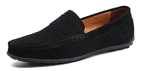 YZHYXS Black Slip On Shoes for Men Penny Loafers Suede Cow Leather Comfort Dress Casual Leather Business Shoes Size 9.5 (A101Black44) - Suede Loafers Shoes