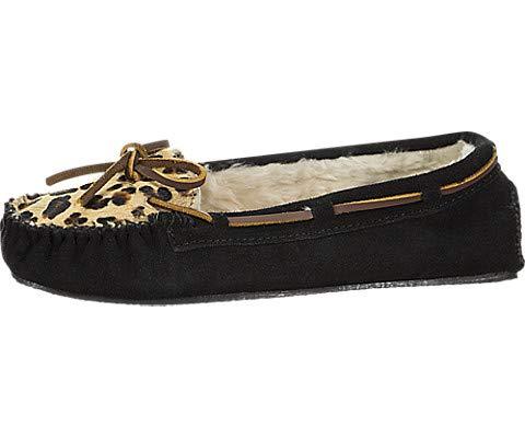 Womens City Style Leopard - Minnetonka Women's, Calley Slippers Black/Leopard 8 M