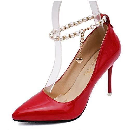 Pompes L'orteil Coupant Les Noce Femmes Cheville Mode Hauts De La Talons Chaussures Perle Rouge Des Ovq8OSz
