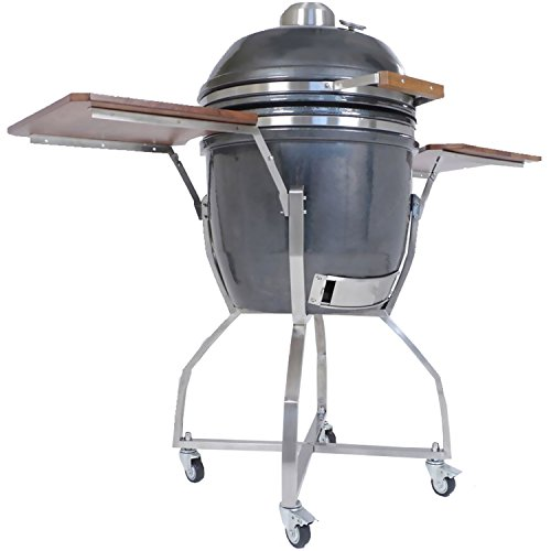 Hanover Grills HAN191KMDCSCA-GM Kamado Grill with Cart, Shelves & Accessory Package, Gun Metal, 19'