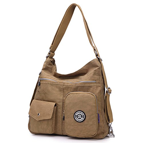 Beige Outreo Backpack Crossbody Nylon Bag Women Handbag Satchel Bag for Body Bag Cross Girls Sport Travel Messenger Shoulder Side Casual CC4Hqp