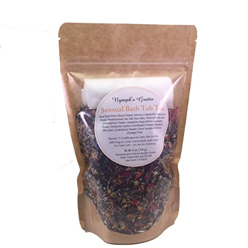 Bath Tea By Nymph's Grotto – Sensual Bath Tub Tea – Herbal Tea Bath Set - Sea Salts, Flowers, Dried Herbs and Muslin Drawstring Bags – Relaxing Soak – Cruelty ()