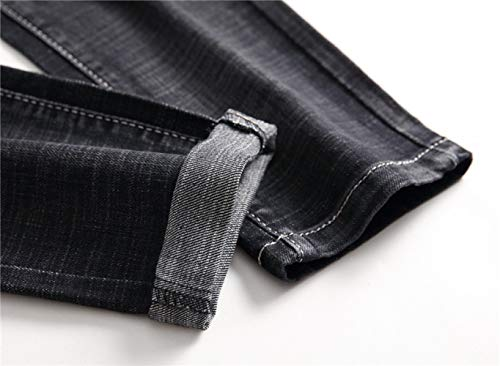 Insignia Modelos Manguito con De Casual Hombres Discoteca Micro Elásticos Impresión Moda De Los Negro Marea Vaqueros Mezclilla WJP Recto Pantalones Bordada Pantalones De dqwWHdaR