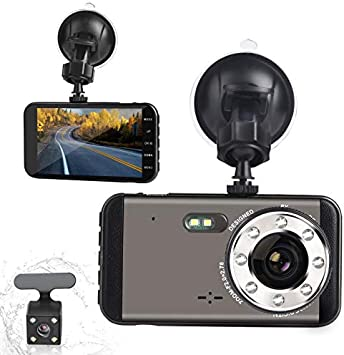 GROTIC Dual Dash Cam HD 1080P Camera Super Night Vision 170 Degrees in The Front and 140 Degrees in The Rear, 4 inches IPS Screen Forward and Backward Twin Channel Recorder G-Sensor WDR Loop Record