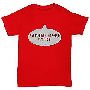 TWISTED ENVY Boys Funny T Shirt I'd Rather Be With My Dog Boy's T-Shirt Age 5-6 Red