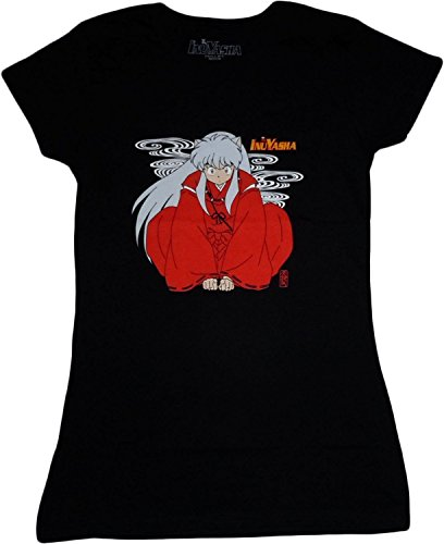 InuYasha: Sit InuYasha Junior Black T-Shirt