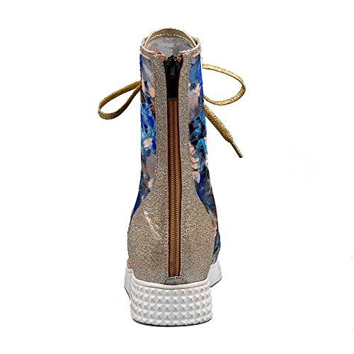 AllhqFashion Women's Zipper Peep Toe Low-heels Blend Materials Assorted Colors Sandals Blue woU61TzR8