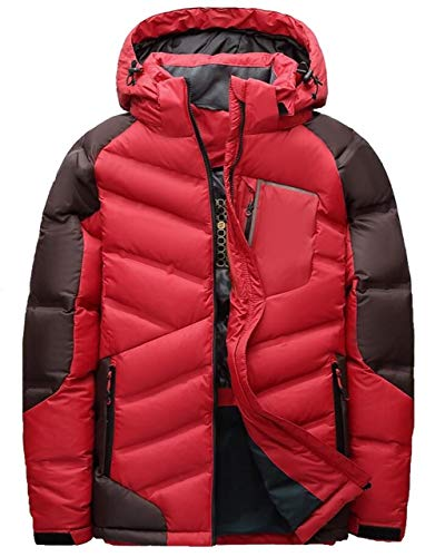 FGYYG Men's Winter Fashion Multicolor Stitching Down Jacket Quilting Multi-Pocket Hooded Thicken Warm Parka Coat Red