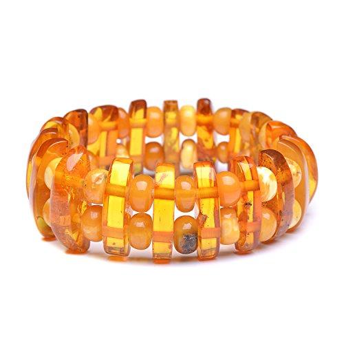 Honey Scotch (Vintage Amber Bracelet - Unique Amber Bracelet - Certified Handmade Amber Bracelet - Genuine Amber Bracelet (7.5 inches, Green) (7.5 inches, Honey/Butterscotch))