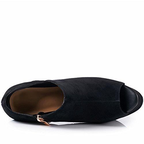 Piattaforma Nineseven Delle Pelle Toe Pompe Tallone Zip Donne Eccellente Nero Scamosciata Artigianale Peep Alto HqWF8