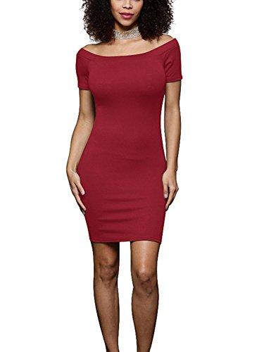 Mujer Color Sólido Manga Corta Verano Bodycon Mini Vestido Corto Vestido Ajustado Vino Rojo
