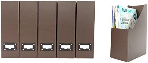 Blu Monaco Office Modern Brown Magazine File Holder Set with Leather Label Holder - Magazine File Box Set of 6 - Brown Cardboard Magazine Holder Storage Organizer Box by Blu Monaco (Image #3)