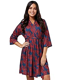HAPPY MAMA Womens Maternity Nursing Printed Labour Dressing Gown Robe 629p