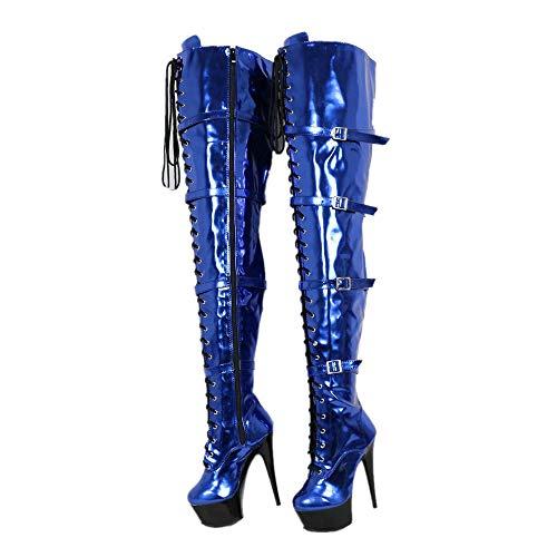 Sorbern Metallic Crotch Thigh Boots Women Lace Up Thigh High Boots 15Cm Heels Platform Custom Wide Calf