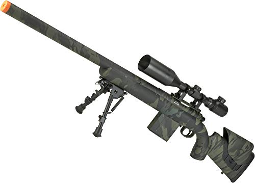 Evike APS M40A3 Realistic Action Airsoft Sniper Rifle - 550 FPS Version (Color: Multicam Black/Rifle (No Scope/Bipod)) (Best Airsoft Scope Cam)
