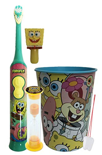 Spongebob Squarepants Oral Care Sets. Includes Matching 2 Minute Timer and Rinse Cup. (3 Piece Rotary)