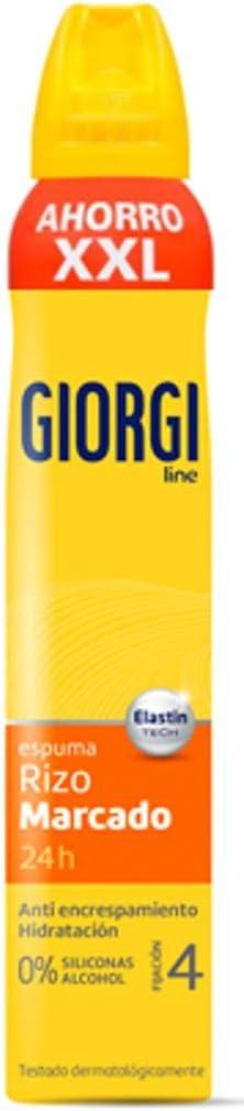 Giorgi Line - Espuma Rizo Marcado 24h, Anti Encrespamiento e Hidratación, 0% Siliconas y Alcohol, Fijación 4 - Formato XXL, 300 ml