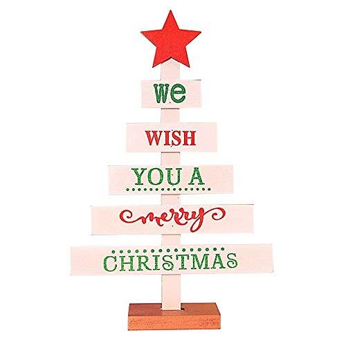 Christmas Mini Tree,Lovewe Mini Wooden Merry Christmas Tree Desk Table Decor Pendants Xmas Tree Ornaments (White)]()