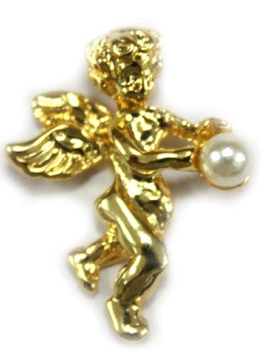 gold tone Cherub Pin brooch w/ Faux Pearl