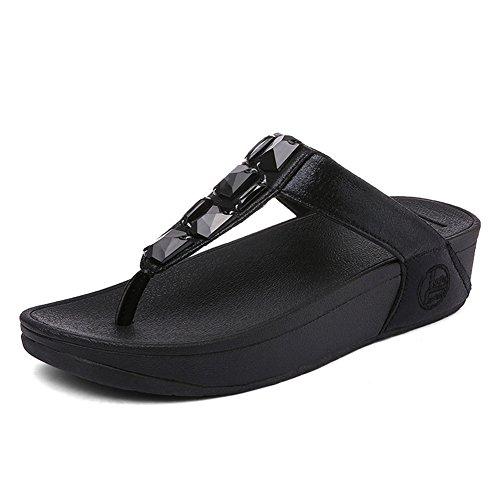 Nero Sandali da slittata spesso Scarpe Zeppe Fondo NVXIE lanciare spiaggia donna strass sandali nwvqxwS7Xf